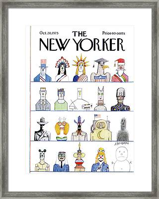 New Yorker October 20th, 1975 Framed Print by Saul Steinberg