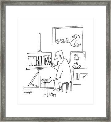 New Yorker October 21st, 1950 Framed Print by Saul Steinberg