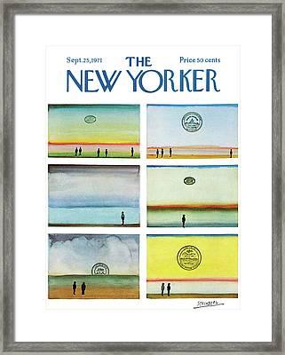 New Yorker September 25th, 1971 Framed Print by Saul Steinberg