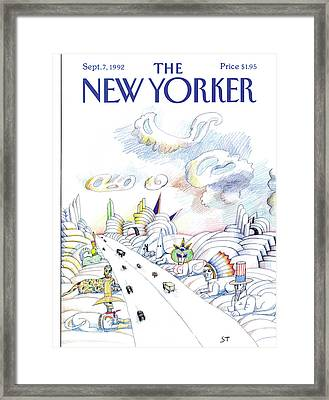 New Yorker September 7th, 1992 Framed Print by Saul Steinberg