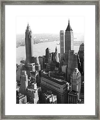 New York's Financial Center Framed Print by Underwood Archives