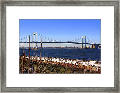 New York's Throgs Neck Bridge Framed Print by  Photographic Art and Design by Dora Sofia Caputo