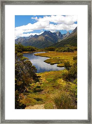Framed Print featuring the photograph New Zealand Alpine Landscape by Cascade Colors