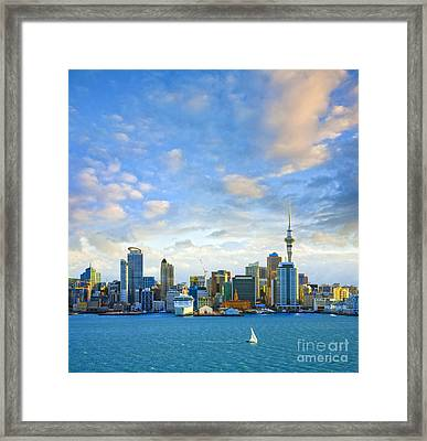 New Zealand Auckland Skyline At Sunset Framed Print