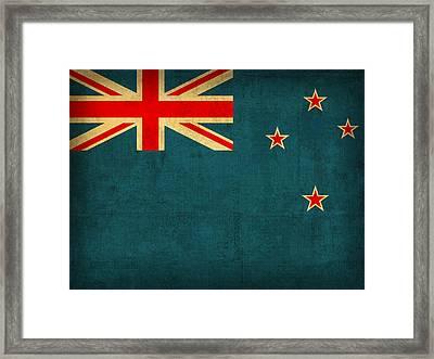New Zealand Flag Vintage Distressed Finish Framed Print by Design Turnpike