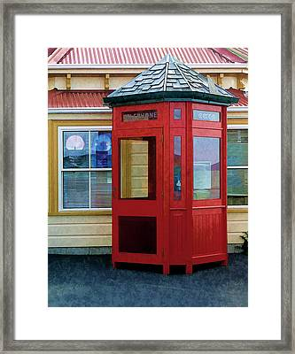 New Zealand Red Telephone Booth Framed Print by Linda Phelps
