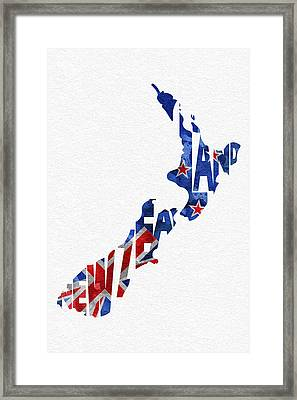 New Zealand Typographic Map Flag Framed Print