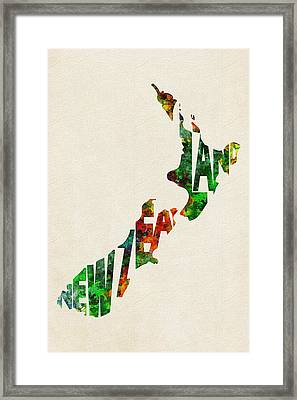 New Zealand Typographic Watercolor Map Framed Print by Ayse Deniz