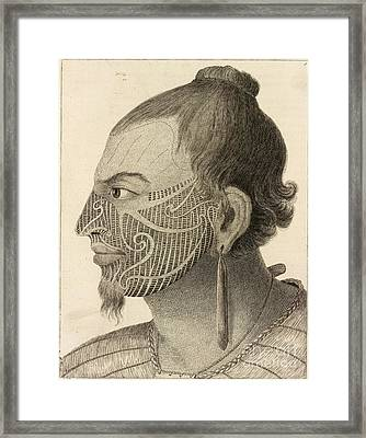 New Zealand Warrior Chief, 18th Century Framed Print by British Library