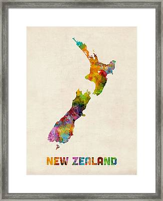 New Zealand Watercolor Map Framed Print by Michael Tompsett