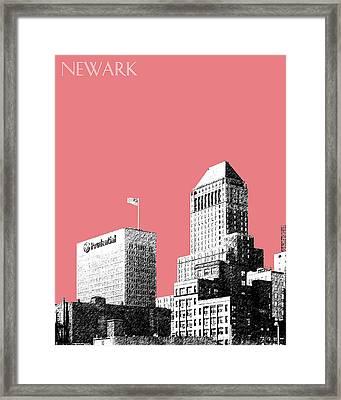 Newark Skyline - Salmon Framed Print by DB Artist