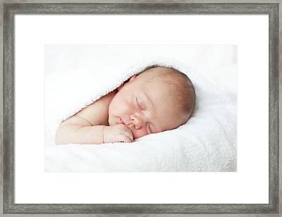 Newborn Baby Boy Asleep Framed Print by Ian Hooton