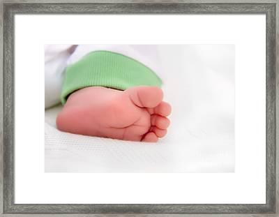 Newborn Baby Foot Framed Print