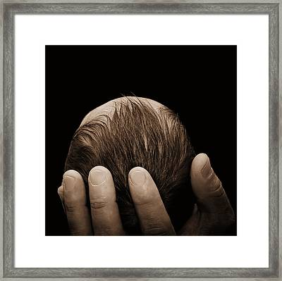Framed Print featuring the photograph Newborn In Hand Of His Father by Tracie Kaska