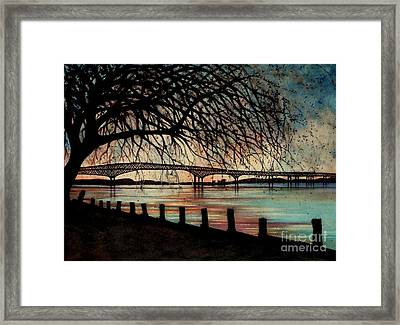 Newburgh Beacon Bridge Sunset Framed Print by Janine Riley