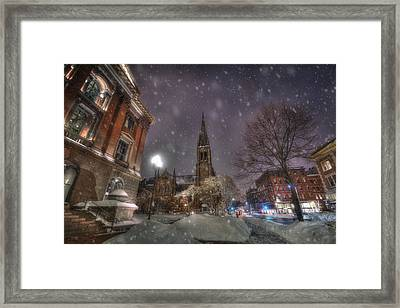 Winter On Newbury Street - Boston Framed Print by Joann Vitali