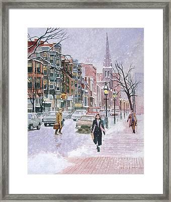 Newbury Street Flurries Framed Print by Karol Wyckoff