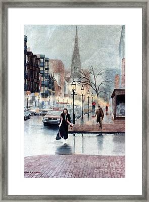 Newbury Street Rain Framed Print by Karol Wyckoff