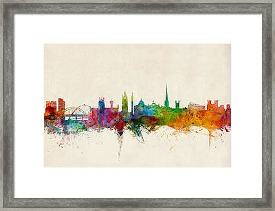 Newcastle England Skyline Framed Print by Michael Tompsett