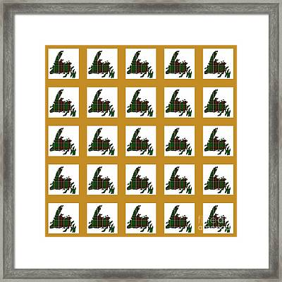 Newfoundland Tartan Map Blocks Gold Trim Framed Print