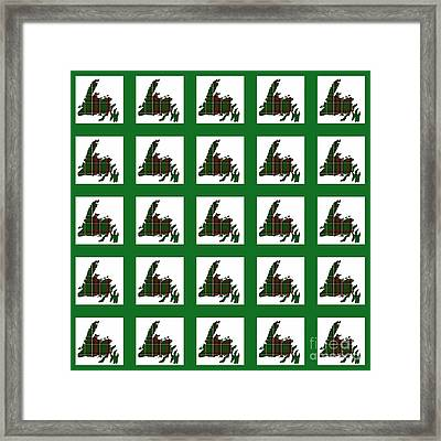 Newfoundland Tartan Map Blocks Green Trim Framed Print