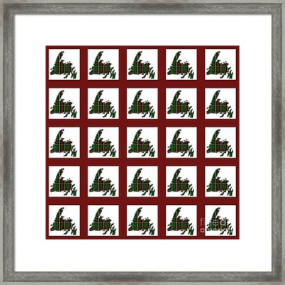 Newfoundland Tartan Map Blocks Red Trim Framed Print