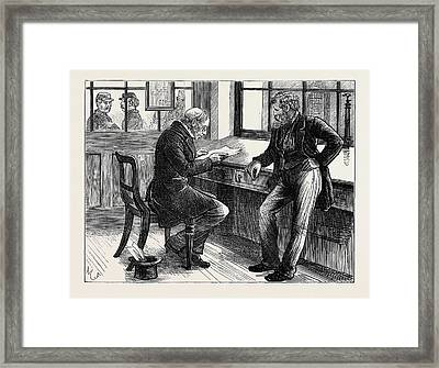 Newgate Prisoner With Attorney In Consulting Room 1873 Framed Print by English School
