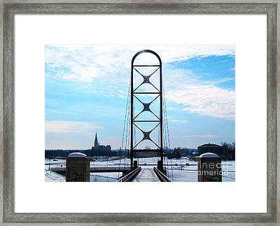 Newly Popular Footbridge In Wintertime Framed Print