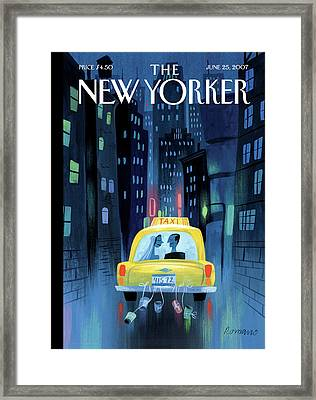 Newlywed Couple In A Taxi Framed Print
