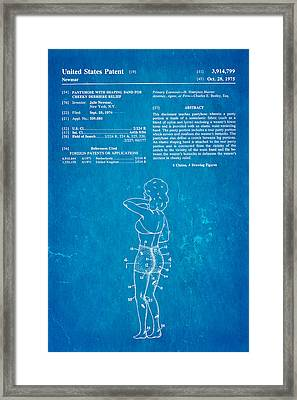 Newmar Pantyhose Patent Art 1975 Blueprint Framed Print by Ian Monk