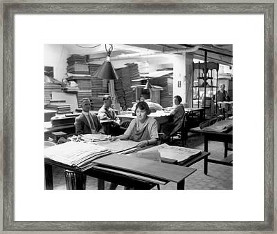 Newpaper Printing Office Framed Print by Underwood Archives