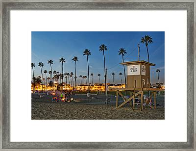Newport Beach At Dusk Framed Print by Kelley King