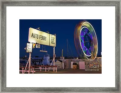 Newport Beach Auto Ferry Framed Print by Eddie Yerkish
