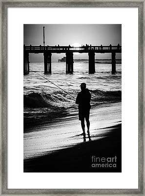Newport Beach California  Sunset Fishing Picture Framed Print by Paul Velgos