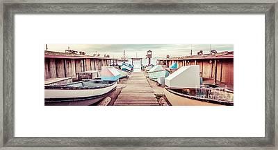 Newport Beach Dory Fleet Retro Panorama Photo Framed Print