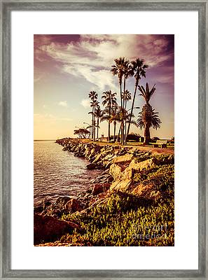 Newport Beach Jetty Vintage Filter Picture Framed Print by Paul Velgos