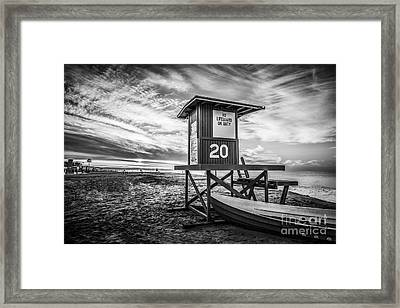 Newport Beach Lifeguard Tower 20 Black And White Photo Framed Print by Paul Velgos