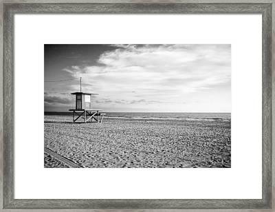 Newport Beach Lifeguard Tower Framed Print by Tanya Harrison