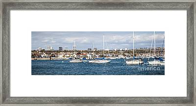 Newport Beach Panorama Framed Print by Paul Velgos