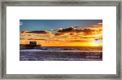 Newport Beach Pier - Sunset Framed Print by Jim Carrell