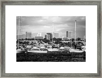 Newport Beach Skyline Black And White Picture Framed Print by Paul Velgos