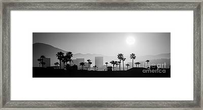 Newport Beach Skyline Sunrise Panoramic Picture Framed Print by Paul Velgos