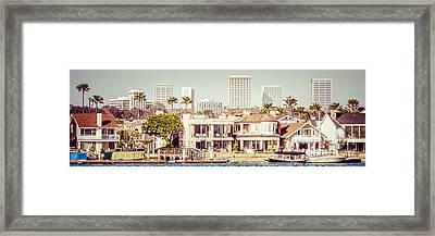 Newport Beach Skyline Vintage Panorama Framed Print by Paul Velgos