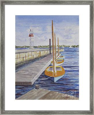 Newport Boats In Waiting Framed Print by Carol Flagg