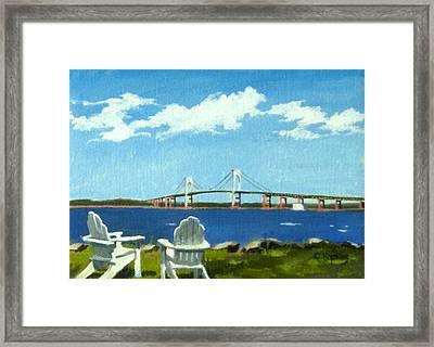 Newport Bridge Newport Rhode Island Framed Print by Christine Hopkins