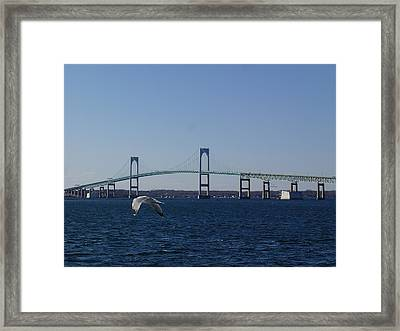 Newport Bridge Framed Print by Robert Nickologianis