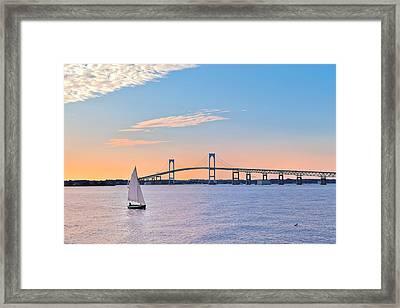 Newport Bridge Twilight Sunset With Sailboat Rhode Island Usa Framed Print