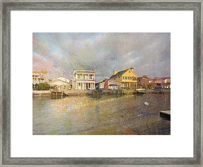 Newport Harbor At Sunset Framed Print by John Fish