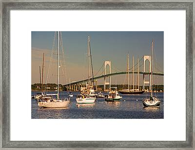 Newport Harbor With Pell Bridge Framed Print