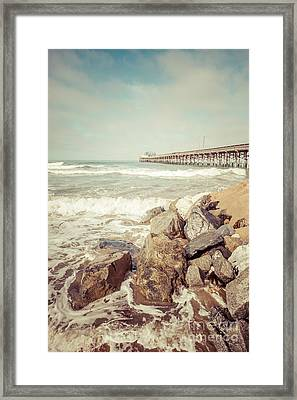 Newport Pier Rocks Retro Photo Framed Print by Paul Velgos